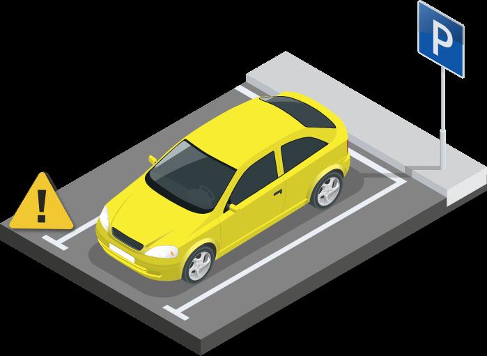 Desenho de carro estacionado com uma placa de alerta ao lado.